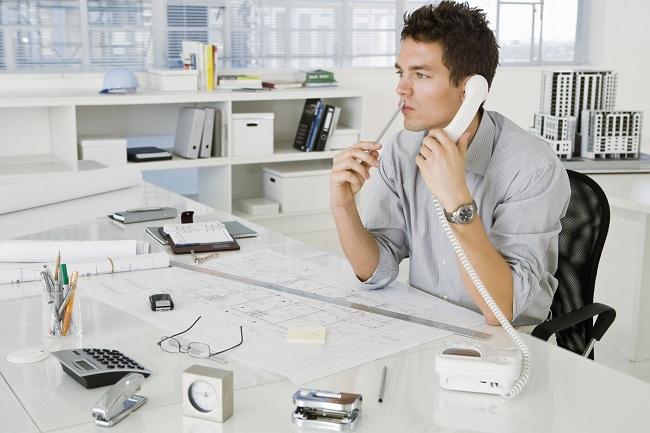 Architect on phone
