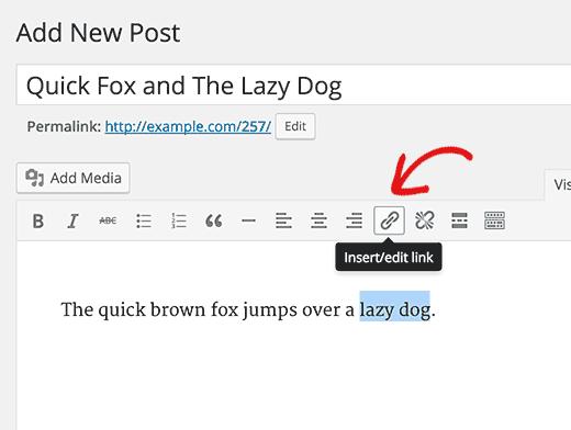 Cách sử dụng anchor text trong wordpress
