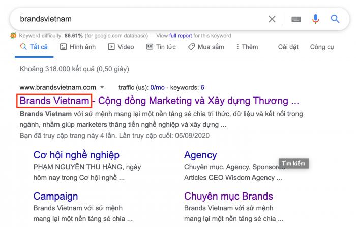 Cách mà Brands Vietnam đặt tên trang chủ