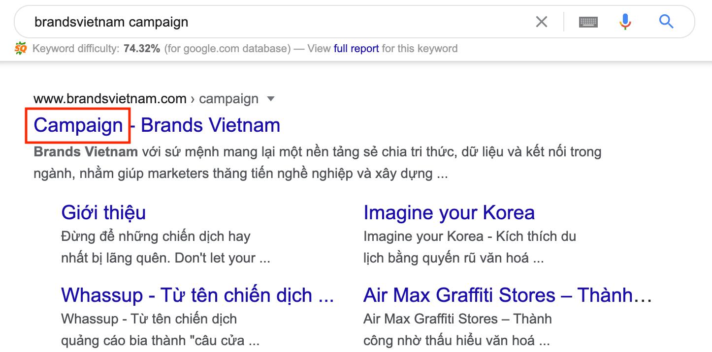 Cách mà Brands Vietnam đặt tên trang con