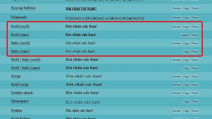Cách viết chữ in đậm, in nghiêng bằng trang hỗ trợ Yay Text 1